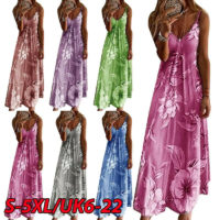 Womens Summer Floral Long Dress Ladies Boho Beach Holiday Maxi Dress Size 6-22