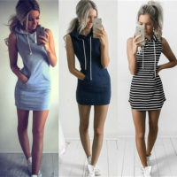 UK Size 6-18 Women Bodycon Striped Hooded Pockets Ladies Long Tops T-Shirt Dress