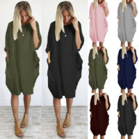 Womens Oversized Long Sleeve Midi Dress Ladies Pockets Casual Baggy T-Shirt Tops