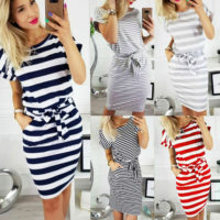 Womens Striped Midi Bodycon Dress Ladies Summer Holiday Short Sleeve Shirt Dress