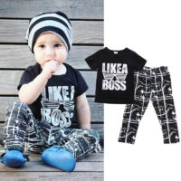 Casual Toddler Baby Boy Summer Outfits Clothes Tops T-shirt+Long Pants Set UK