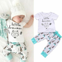 Newborn Baby Boys Girls Summer Fox T-shirt Tops+Pants 2pcs Outfits Clothes Set