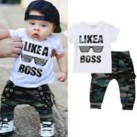 2Pcs Toddler Baby Boy Short Sleeve T shirt Tops+Long Pants Outfits Clothes Set