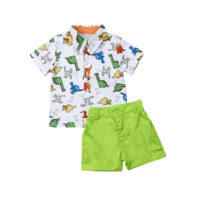 UK Cute Kids Boys Clothes Set Summer Gentleman Dinosaur Shirt Tops Shorts Outfit