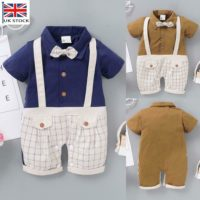 Newborn Baby Boys Gentleman Clothes Infant Plaid Romper Bodysuit Jumpsuit Outfit