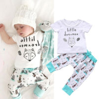 Newborn Baby Boy Girl Outfit Fox Print Shirt T-shirt Tops+Long Pants Clothes Set