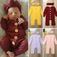 Newborn Baby Girl Boy Autumn Clothes Knitted Romper Jumpsuit 2PCS Outfits Set