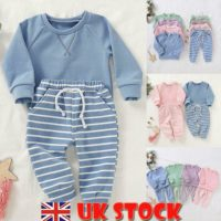 Newborn Baby Boy Girl Clothes Jumper Tops Striped Long Pants Toddler Outfits Set