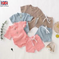 2PCS Newborn Baby Girls Boys Ribbed Romper Tops Shorts Pants Outfits Set Clothes