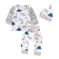 Newborn baby Boys Dinosaur Long Sleeve Tops trouser Hat 3PCS Outfits Clothes