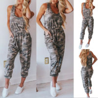 Womens Sleeveless Camo Long Jumpsuit Ladies Military Camouflage Romper Bodysuit