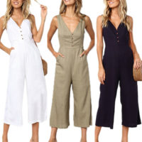 Womens Summer V Neck Playsuit Romper Casual Holiday Wide Leg Jumpsuit Plus Size