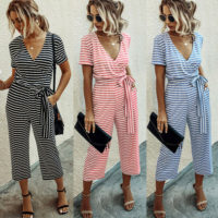 Womens Striped V Neck Jumpsuit Ladies Summer Holiday Wide Leg Playsuit Romper