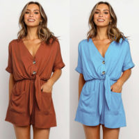 Womens Summer Holiday Shorts Mini Playsuit Ladies Casual V Neck Jumpsuit Romper