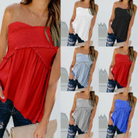 UK Womens Ladies Strapless Bandeau Crop Top Shirred Summer Clothes Blouse Vest
