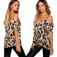 Womens Leopard Printed Cold Shoulder Blouse Ladies Summer T Shirt Tops UK 10-18