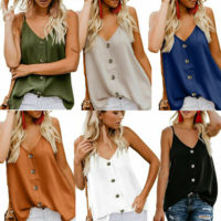 Ladies Blouse Shirt Summer Strappy V Neck Vest Tops Ladies Pure Button Tank Cami