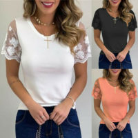 Womens Lace Short Sleeve Tops Blouse Ladies Casual Slim T-shirt Tops Size 8-22