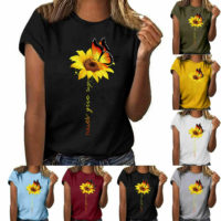 Women Sunflower Tops Ladies Short Sleeve Crew Neck Casual Blouse Shirt Plus Size