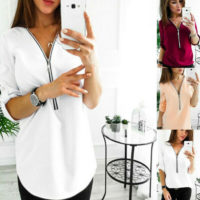 Womens Ladies Zip V Neck Baggy T Shirt Long Sleeve Blouse Casual Work Tunic Tops