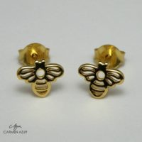 18ct Gold on Solid 925 Sterling Silver Stud Earrings Honey Bee New with Gift Bag