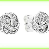 New Pandora Genuine Sparkling Love Knots Stud Earrings 290696CZ Silver S925 ALE