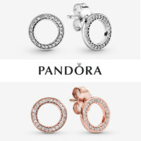 Genuine Silver Pandora Sparkling Circle Stud Earrings New With Box 290585CZ