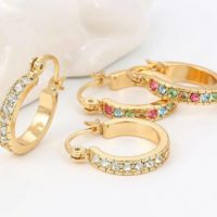 "9ct 9K Yellow ""Gold Filled"" Ladies White & Colour Stone Small Hoop Earrings.667"