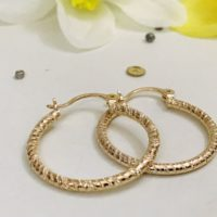 "SALE 9K 9ct ""Gold Filled"" Lovely Patterned Hoop Earrings 28mm Birthday Xmas Gift"
