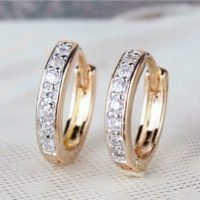"9ct 9K Yellow & White ""Gold Filled ""Zircon's Small Oval Hoop Earrings.15mm Pouch"