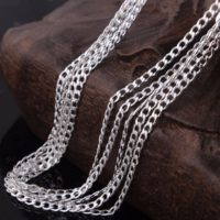 """2mm Curb chain Silver Link necklace pendant 925 16-30"""" Sterling UK Seller Cr2S"""