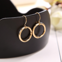 GOLD SILVER DAINTY MINIMAL CIRCLE DANGLE HOOP HOOK EARRINGS WOMENS JEWELLERY
