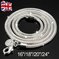 925 Silver Sterling 3mm Solid Snake Chain 16/20/24 Inch Necklace Pendant 3mm HOT
