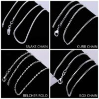 925 Sterling Silver Chain Necklace Curb Belcher Snake Chains Various Lengths 2mm