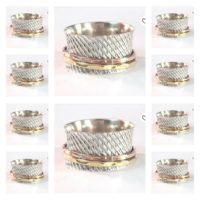 10 Items 925 Sterling Silver & Brass Spinner Ring Handmade Size-N,P,R,T,V,X, a09