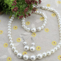 Elegant Wedding Bride Bridesmaid Faux Pearl Crystal Necklace Earrings Bracelet