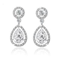 Vintage Style Silver Crystal & Diamante Drop Down Dangle Dangly Stud Earrings