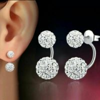 Wedding Jewellery - Silver Plate Diamante / Rhinestone Earrings