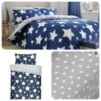 Bedlam STARS Duvet Cover Blue Grey Kids Boys Reversible Bedding Fitted Sheets