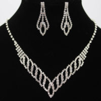 Women BRIDAL WEDDING PARTY CRYSTAL RHINESTONE DIAMANTE NECKLACE EARRINGS SETS