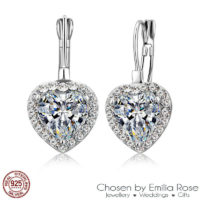 925 Silver Cubic Zirconia Heart Rhinestone Hoop Drop Earrings Bridesmaid Jewelry