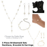 Pearl Bridesmaid Wedding Jewellery Set, Necklace Bracelet & Earrings Jewelry New