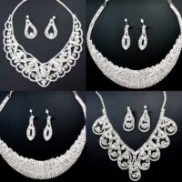Prom Wedding Party Bridal Jewelry Diamante Crystal New Necklace Earrings Sets UK
