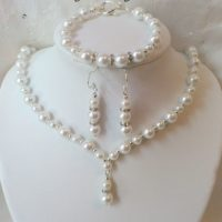 Bridal Jewellery Set ~ Ivory Pearl & Crystal Drop ~ 925 Sterling Silver Ear Hook