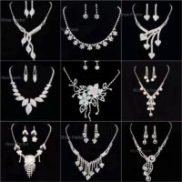 Diamante Necklace Earrings Set Rhinestone Bridal Wedding Jewellery Gift Boxed