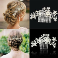 VINTAGE BRIDAL WEDDING CRYSTAL JEWELRY DIAMANTE PEARL HAIR COMB HAIR CLIP SLIDE