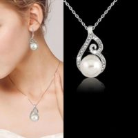Wedding Bridal Crystal Rhinestone Pearl Drop Necklace Earrings Jewelry Set UK