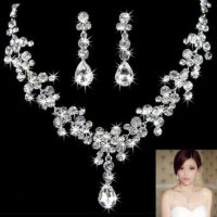 Wedding Bridal Party Jewelry Set Crystal Diamante Rhinestone Necklace & Earrings