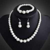 New Weddings Bridal Prom Ivory Pearls Jewellery Set Necklace Earrings Bracelet