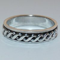 Solid Sterling Silver Celtic Twist Band Ring. Sizes O 1/2, T, V.